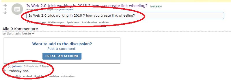 Screenshot der Frage zum Thema Link Wheeling auf Reddit inkl. Antwort von John Mueller