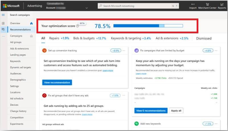 Microsoft Ads: Optimization Score