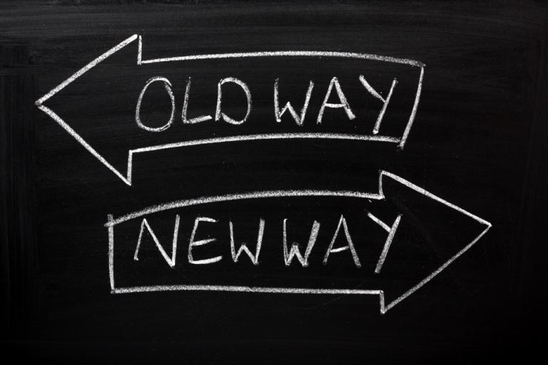 old way new way Schriftzug