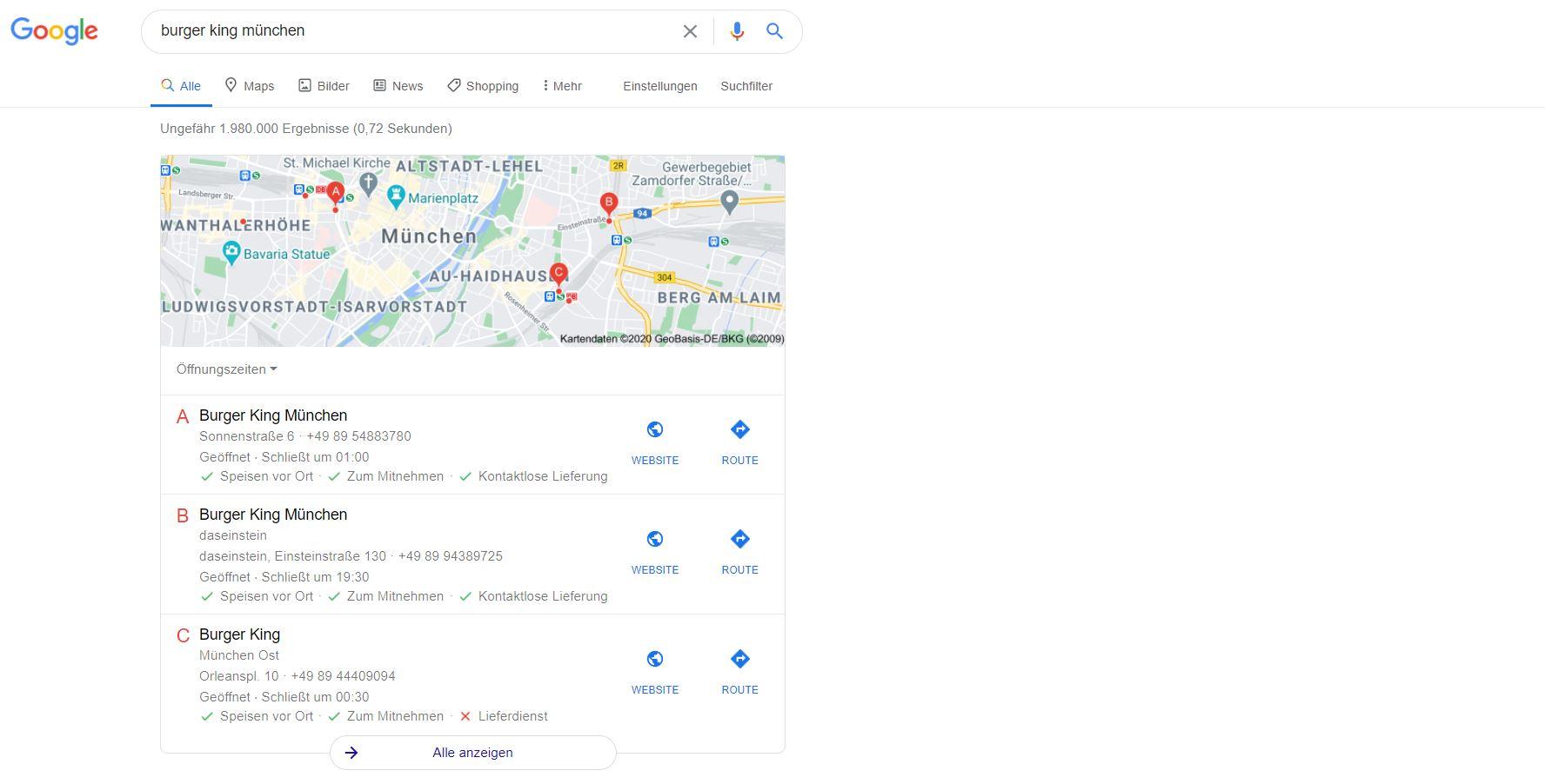 Google My Business mit NAP-Daten in den Suchergebnissen