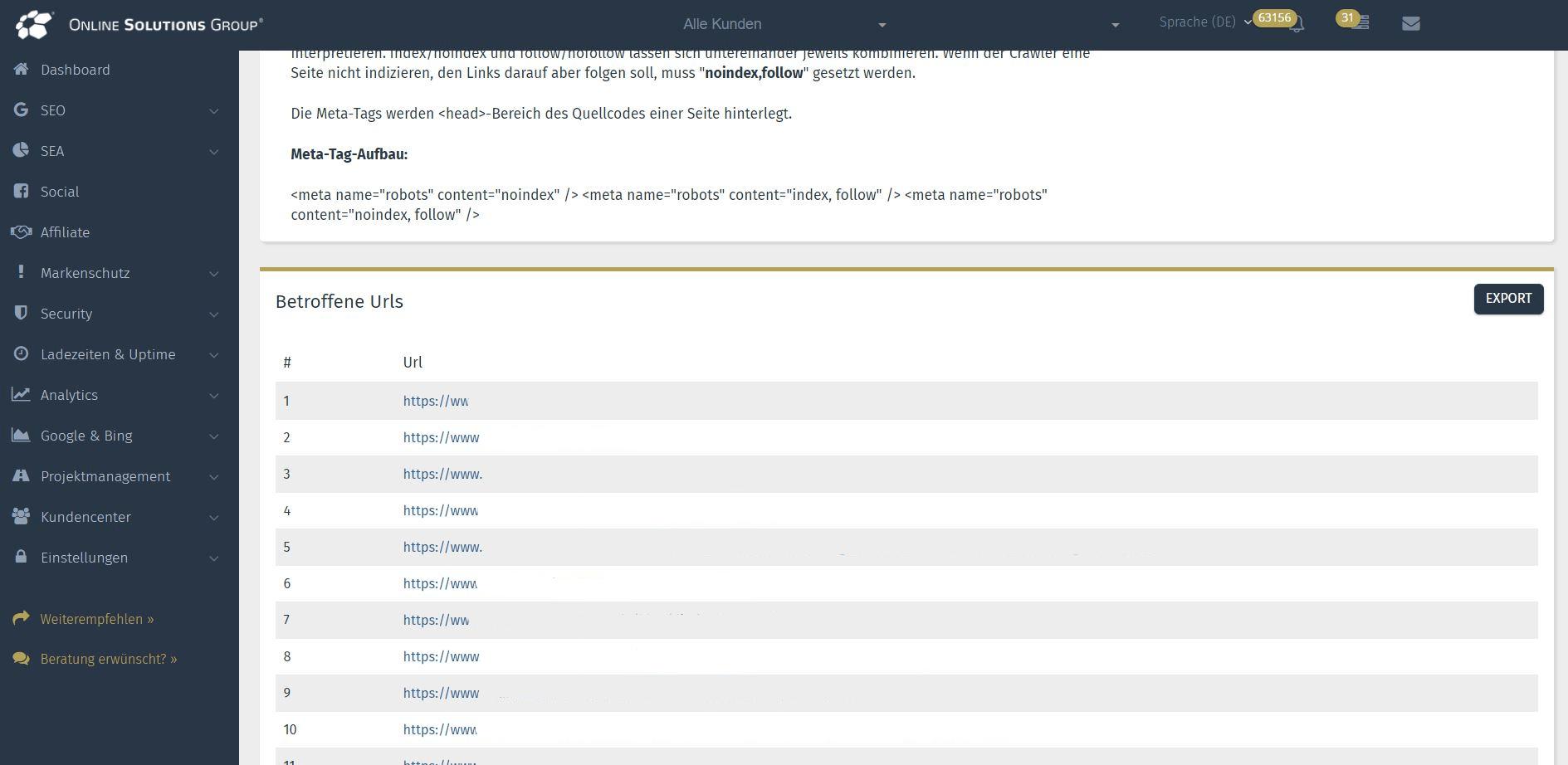 SEO Tool der Performance Suite: Betroffene URLs Indexierung