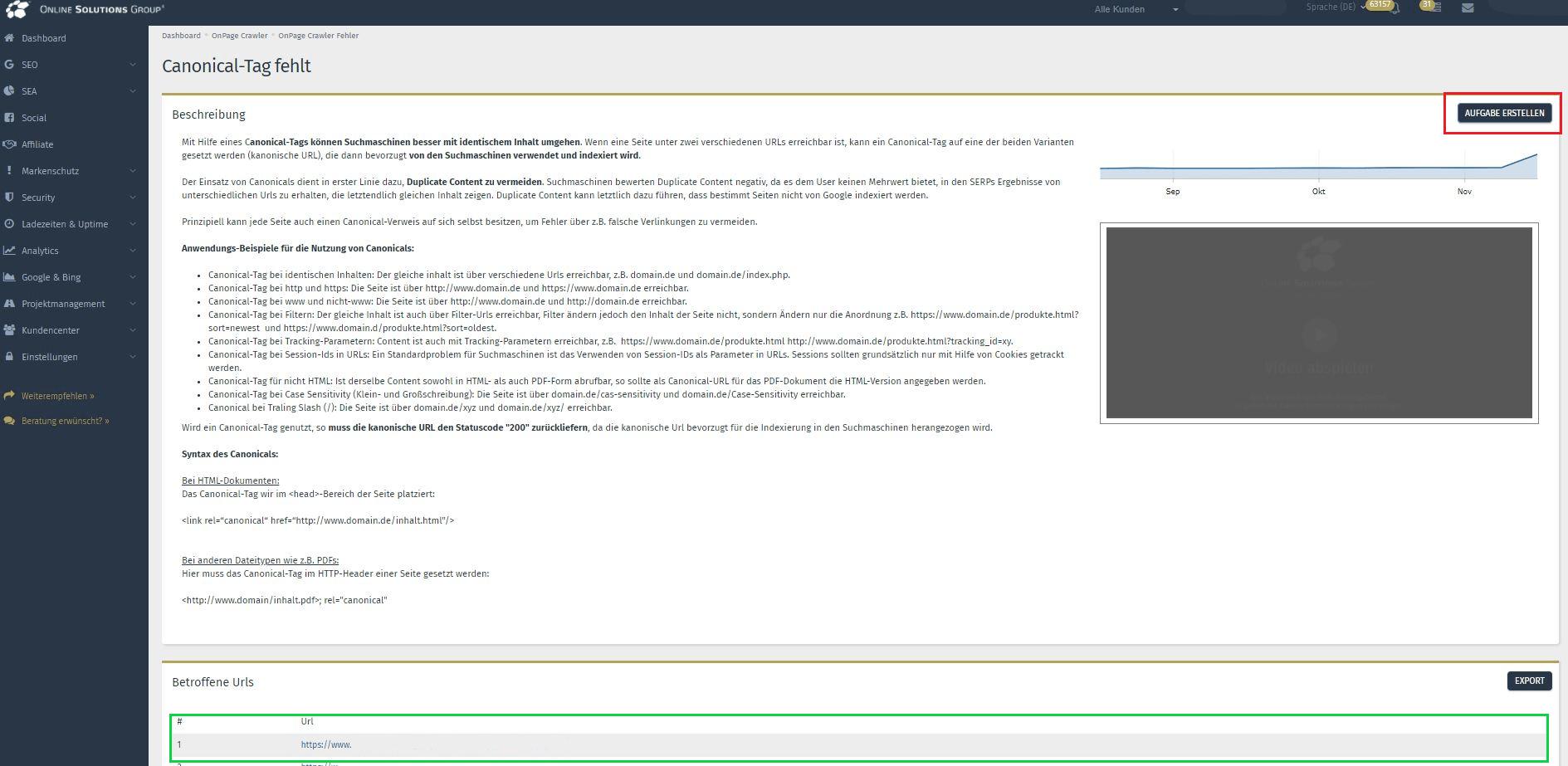 Der Onpage Crawler in der Performance Suite: Canonical-Fehler und betroffene URLs