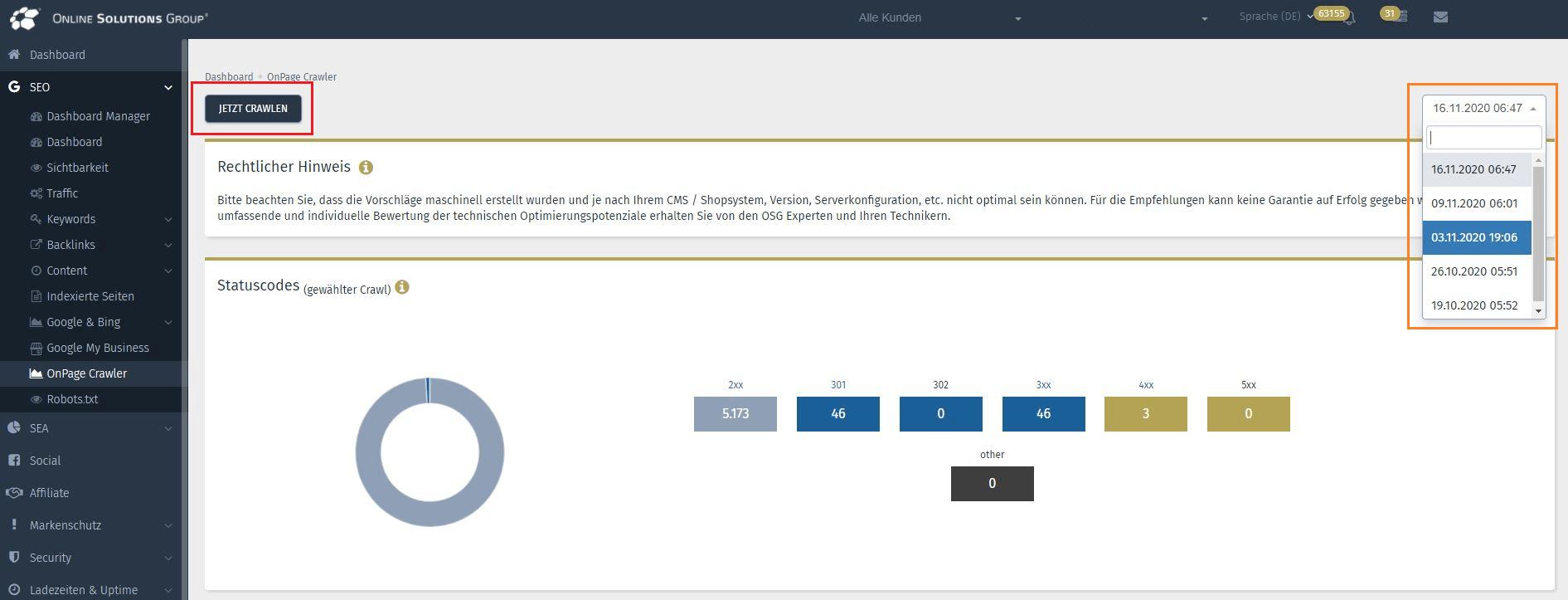 Das SEO Tool in der Performance Suite: Den Onpage Crawl-Vorgang manuell starten