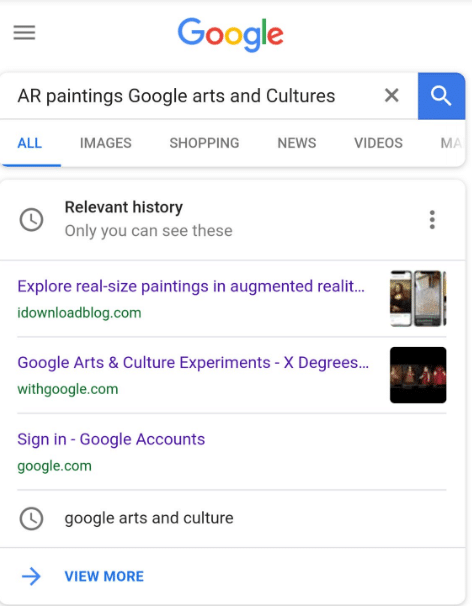 Google Feature Relevant History