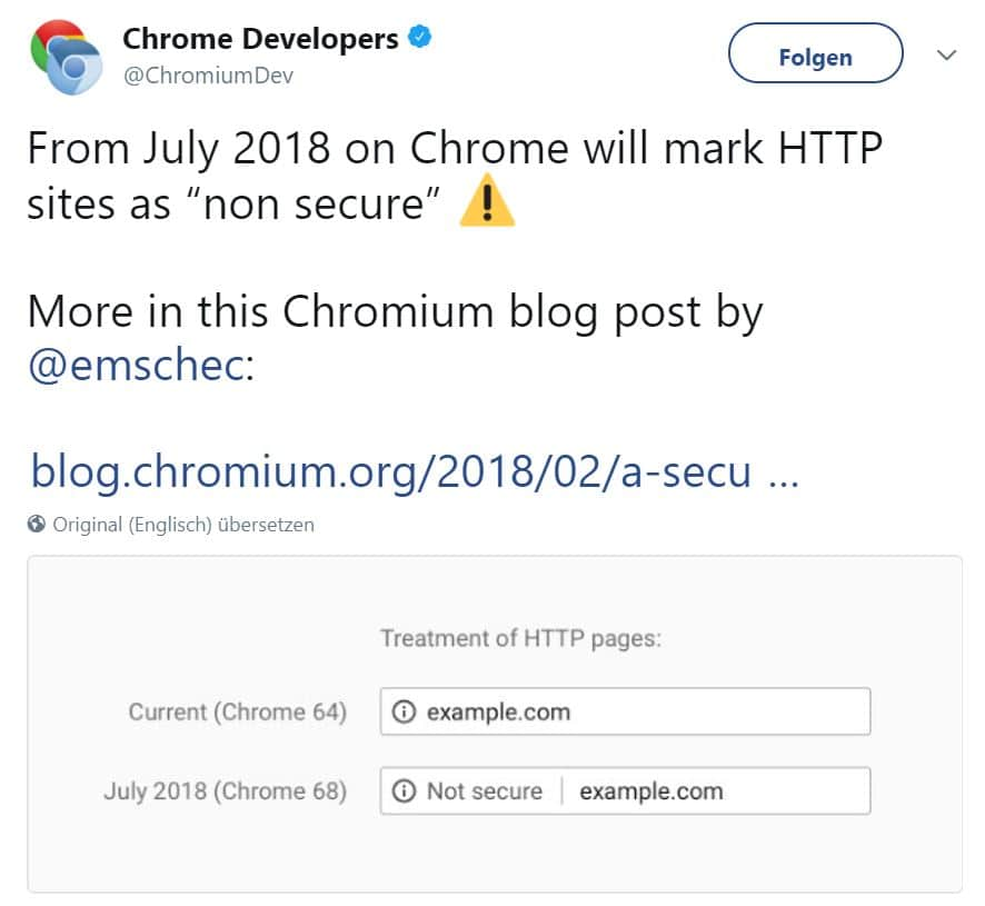 Screenshot Chrome Developers Twitter-Account Not Secure Markup
