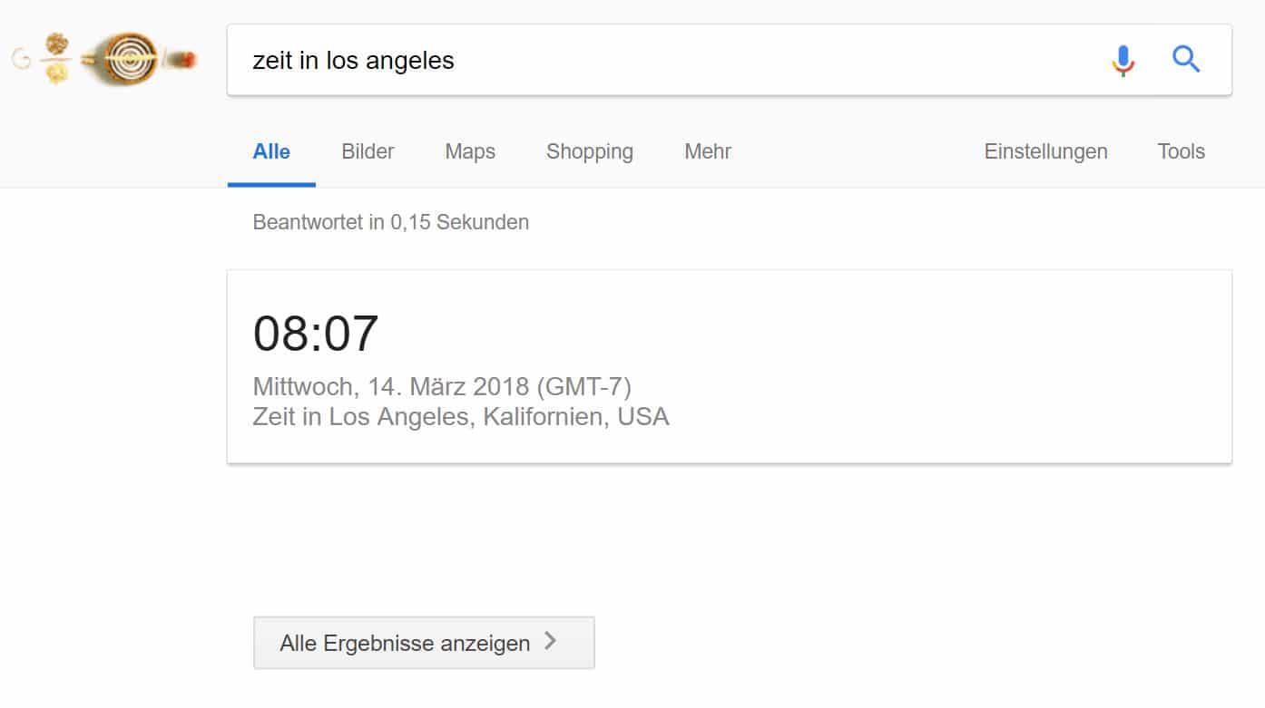 Einzelne Antwort in Google SERP bei einer Suchanfrage nach der Zeit in Los Angeles