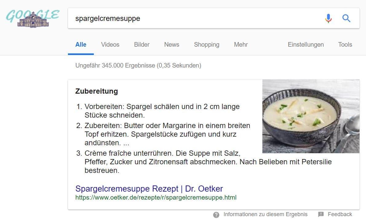 Screenshot eines Featured Snippets auf der Google Suchergebnisseite mit Verlinkung zur Google Bildersuche