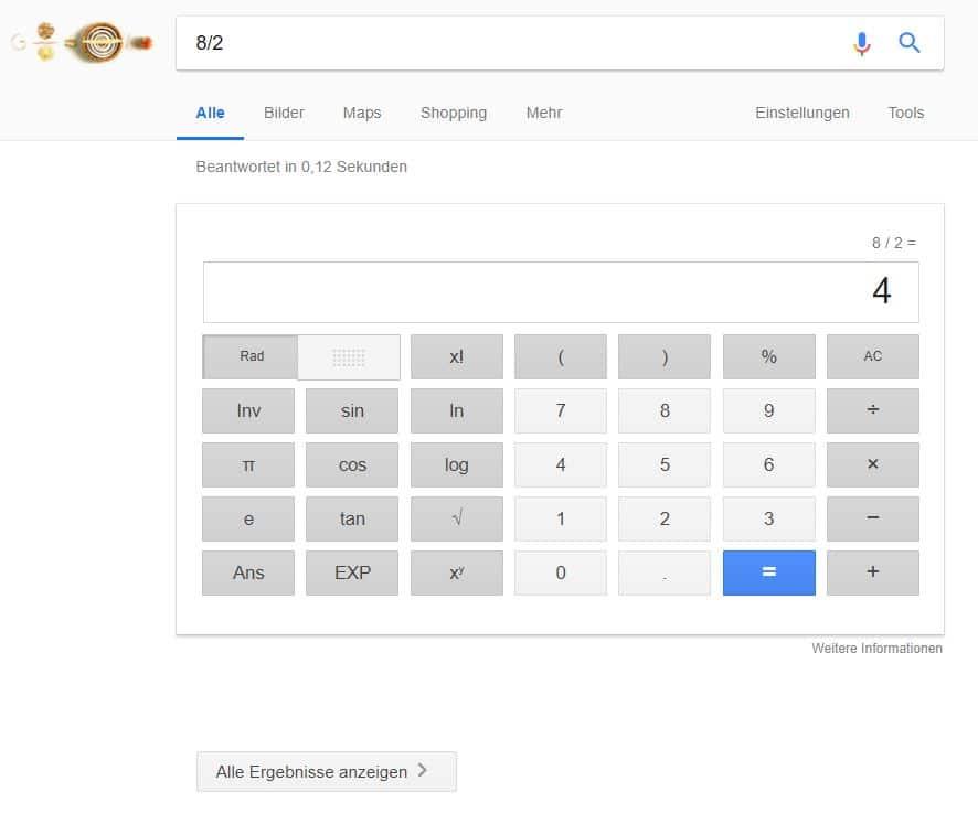 Anzeige einer einzelnen Antwort in Google SERP bei einer simplen Rechenaufgabe