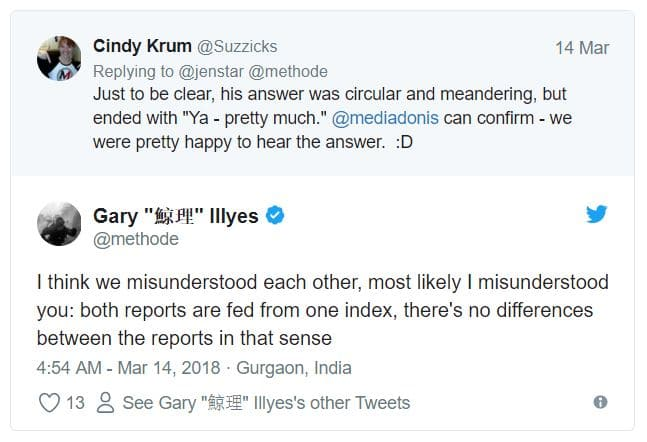 Screenshot eines Twitter Posts von Gary Illyes zur Google Search Console