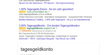 Screenshot Tagesgeldkonto