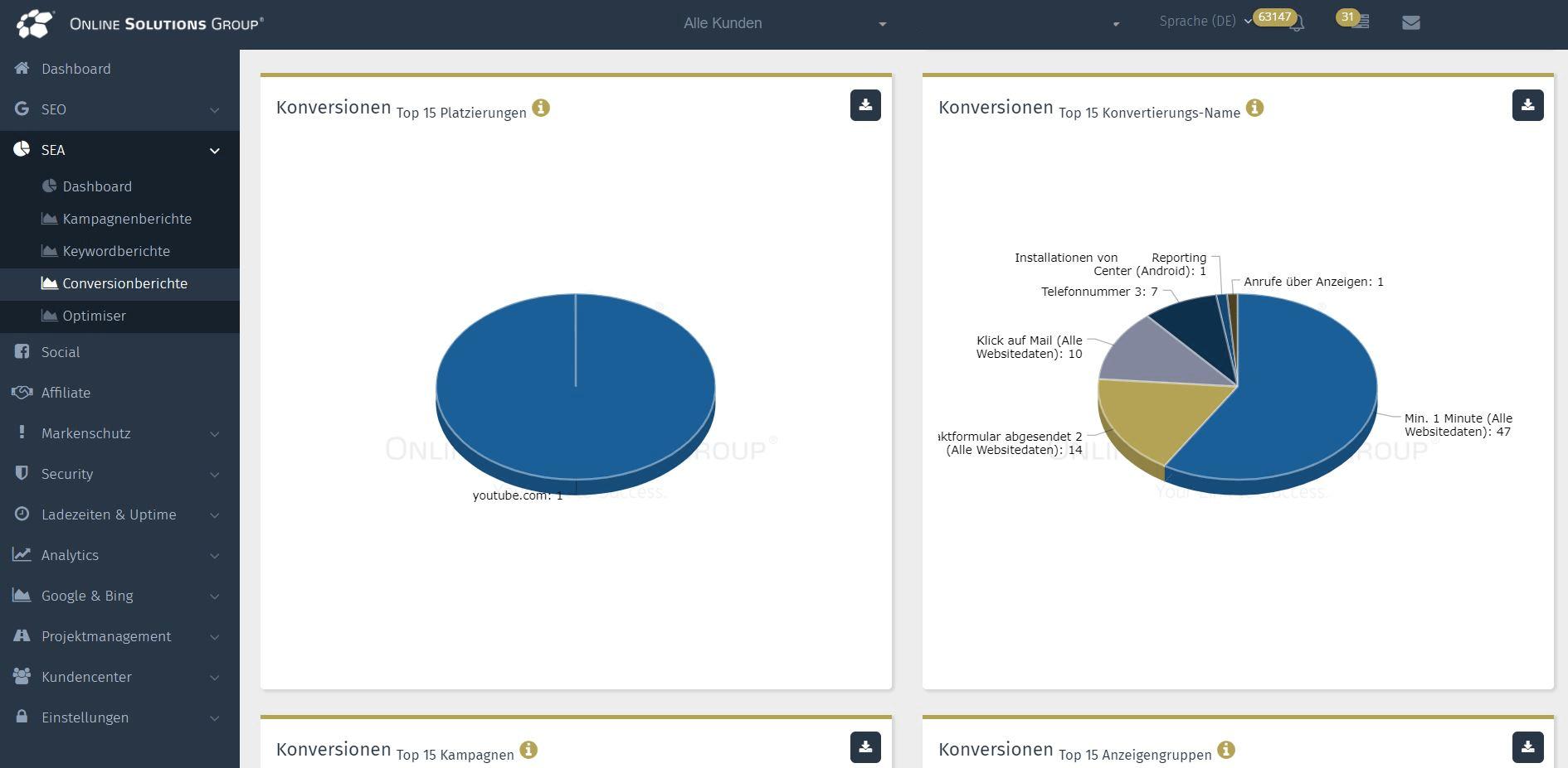 SEA Tool in der Performance Suite: Conversions nach Top-Auswertungen