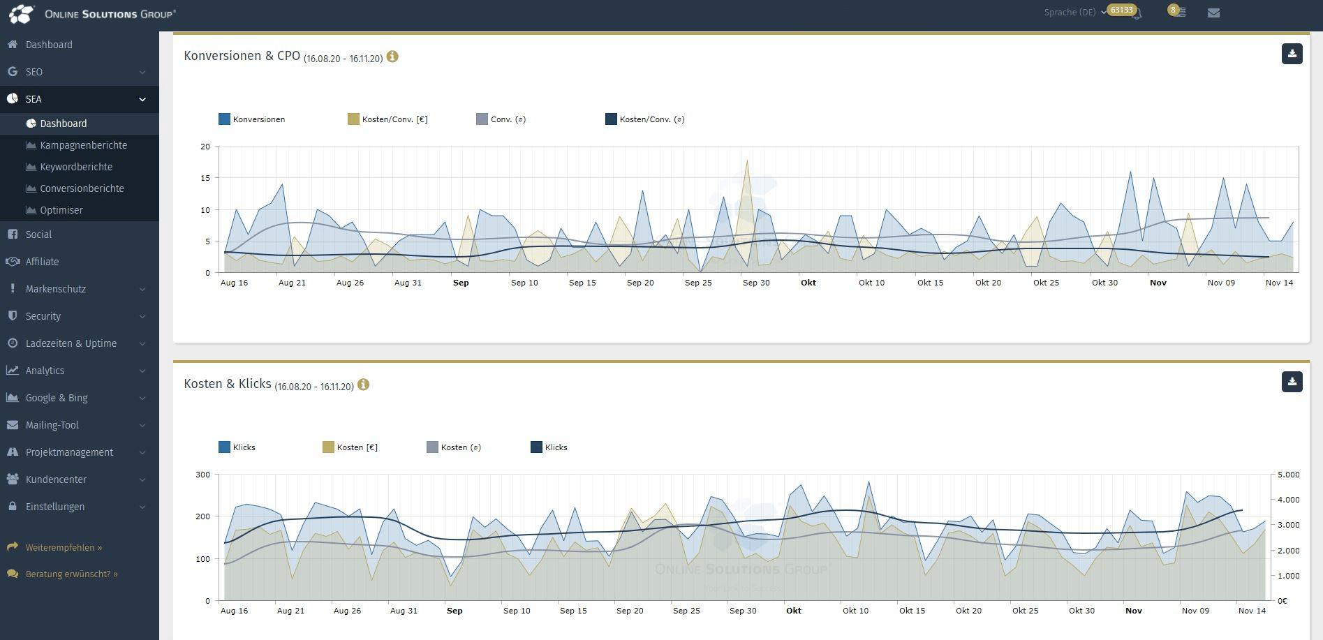 Das SEA Tool in der Performance Suite: Conversions und Kosten