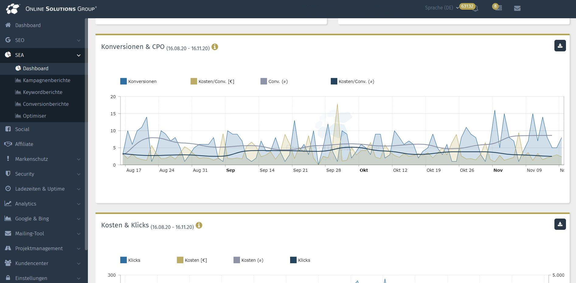 Das SEA Tool in der Performance Suite: Conversions und Klicks
