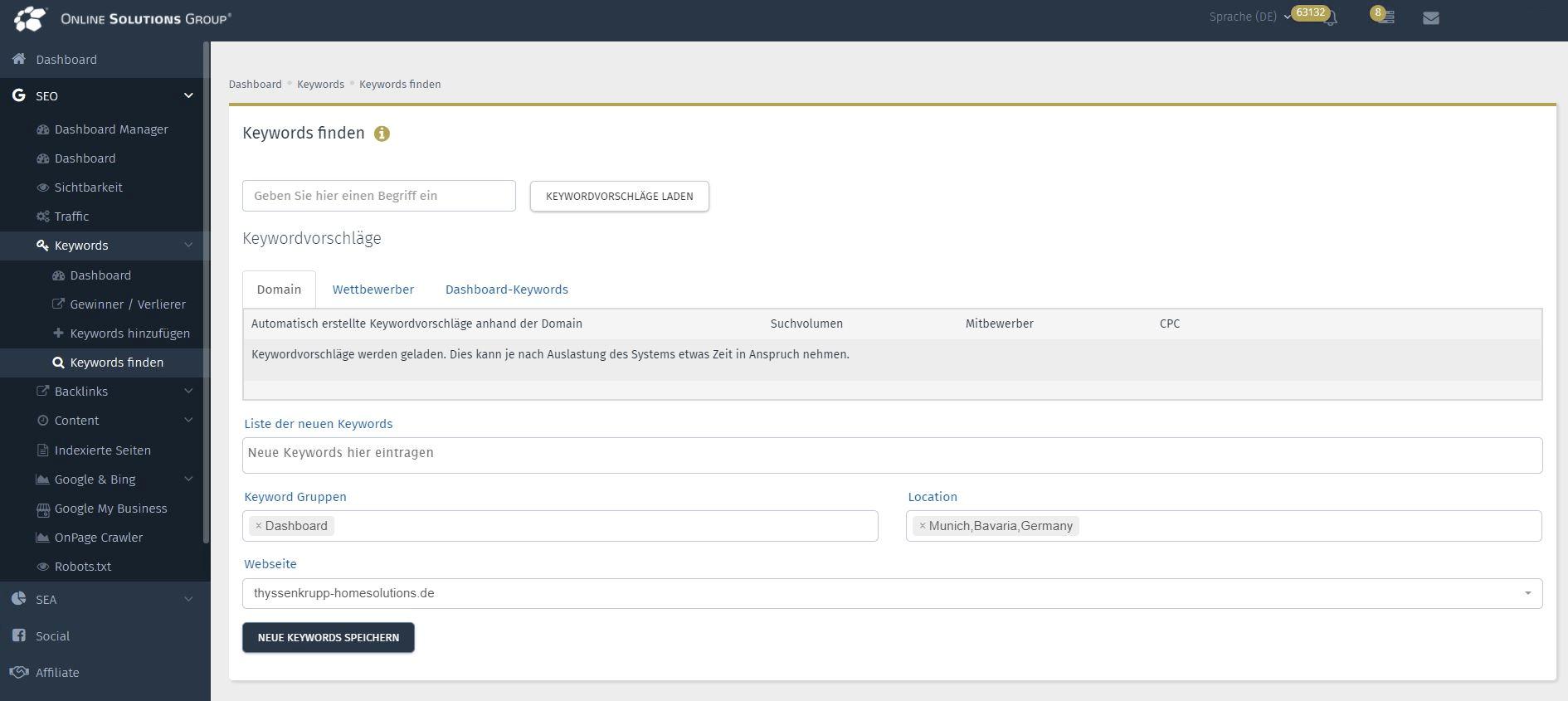Das SEA Tool in der Performance Suite: Neue Keywords finden