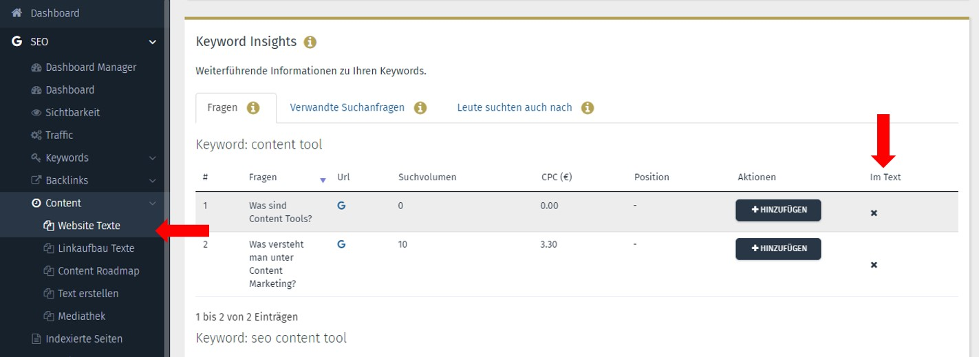 SEO Content Tool Performance Suite Keyword Insights Fragen