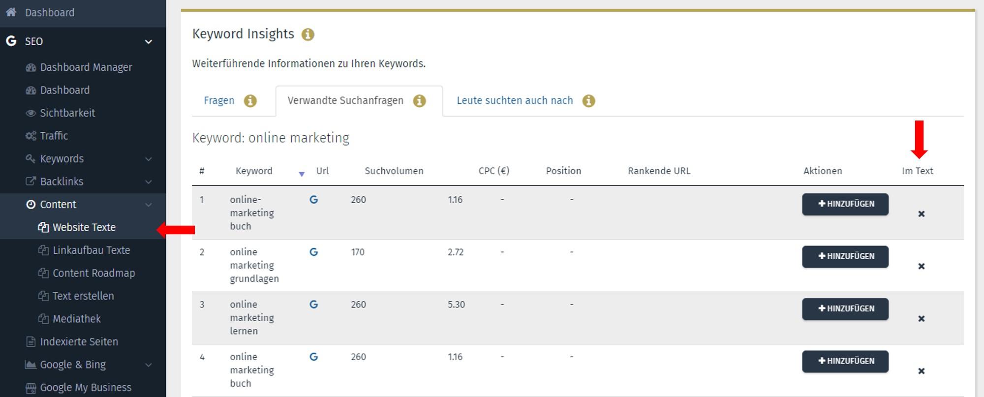 SEO Content Tool Performance Suite Keyword Insights Verwandte Suchanfragen