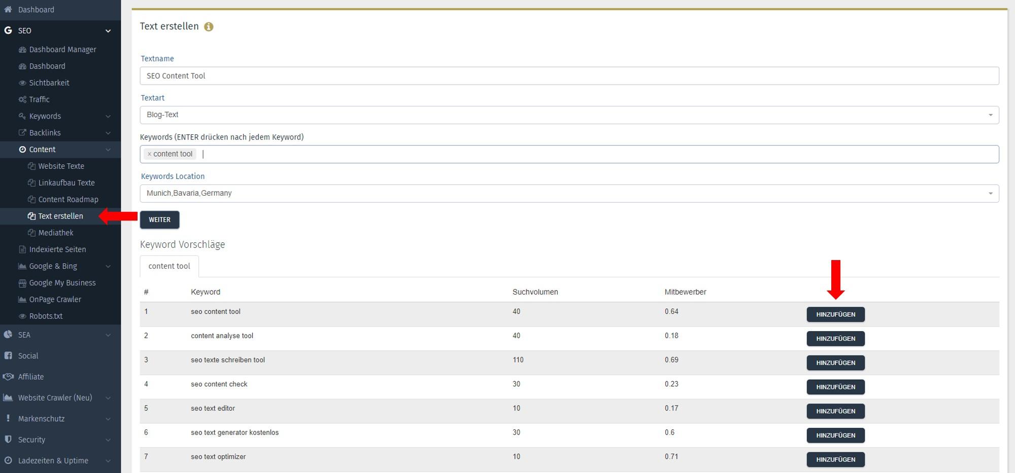 SEO Content Tool Performance Suite Keyword Vorschläge