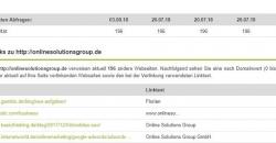 Ergebnisliste des Backlink Checker von SEO united mit Linkhistorie
