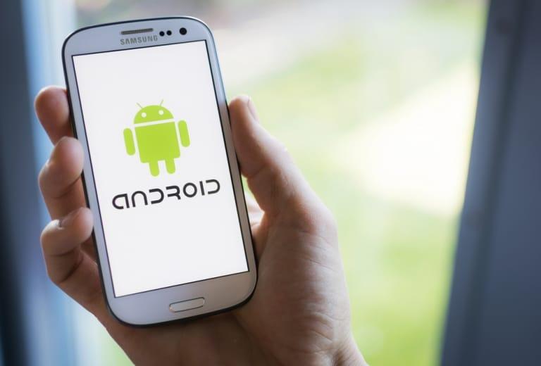 Handy mit Android Logo