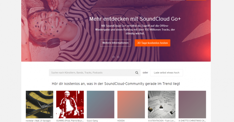 Screenshot von Soundcloud