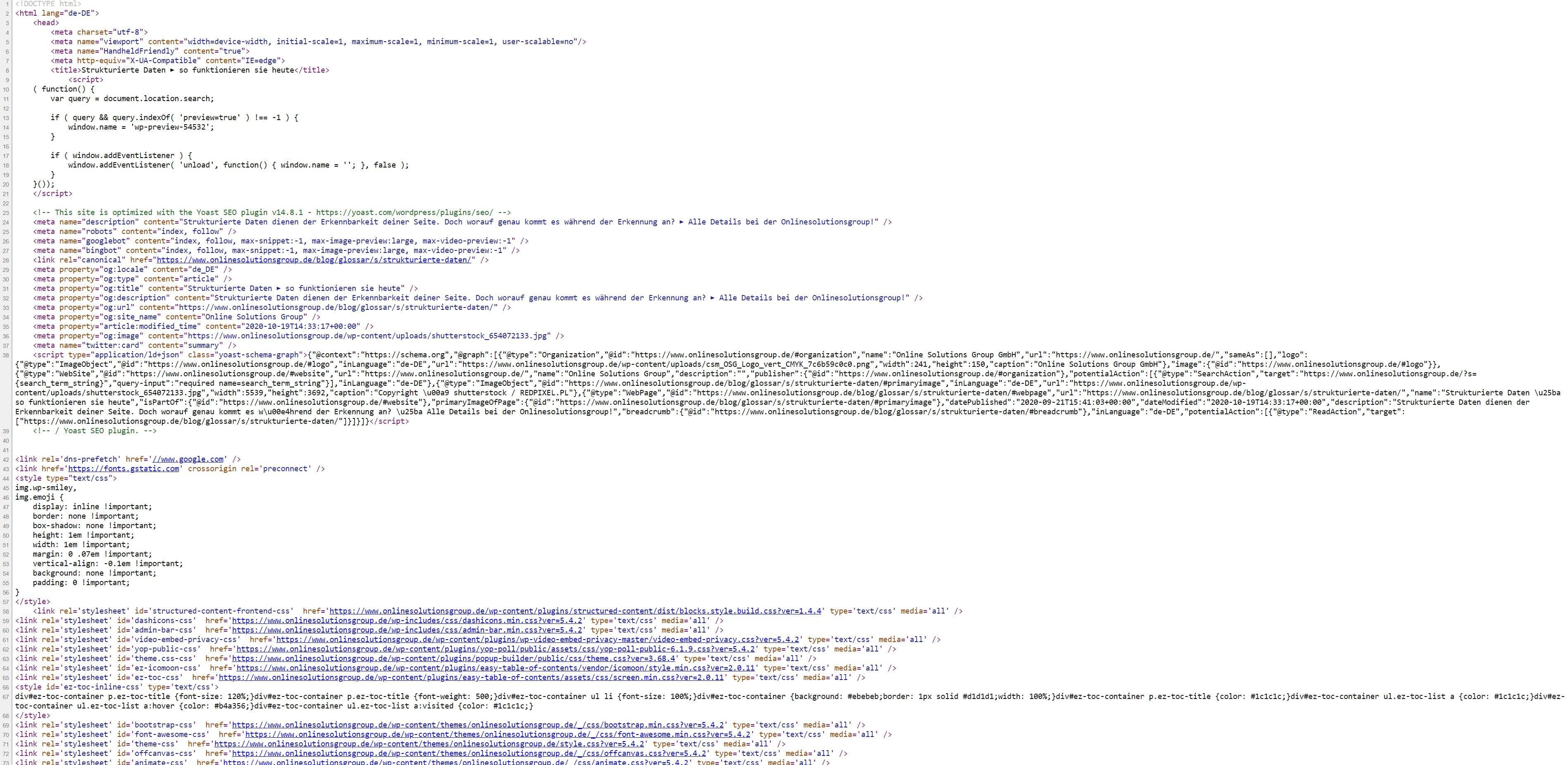 Strukturierte Daten aus Quellcode