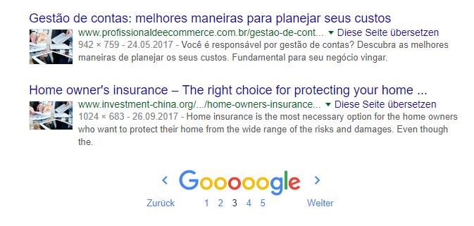 Suchergebnisse einer Google Bildersuche