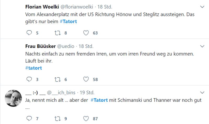 Hashtag Tatort, Diskussion auf Twitter