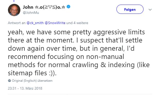 Tweet von John Müller - strengere Begrenzung für die Einreichung von URLs
