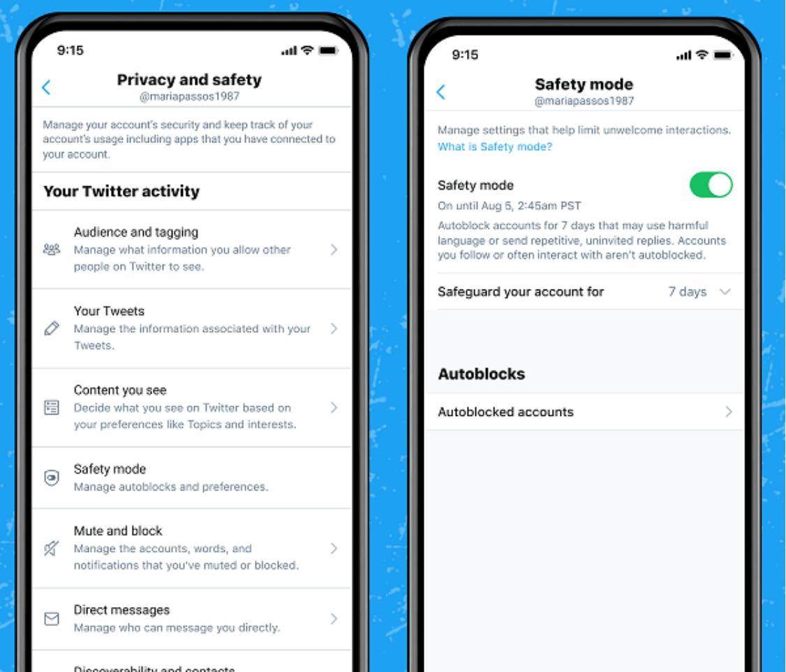 Twitter Sicherheitsfunktion: Einstelllungen