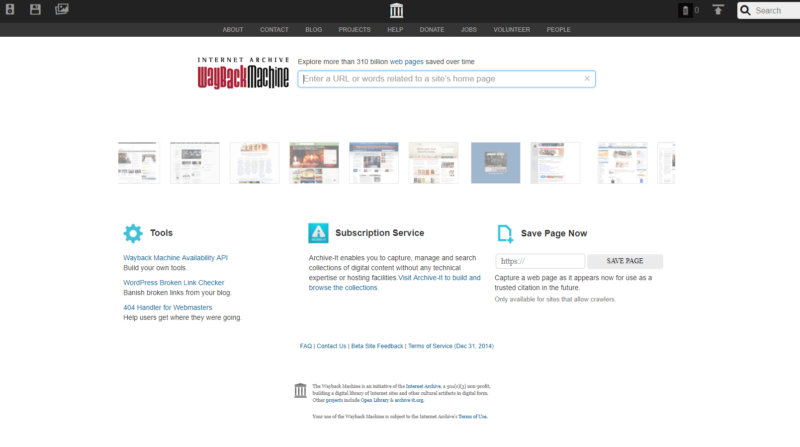 Screenshot Wayback Machine