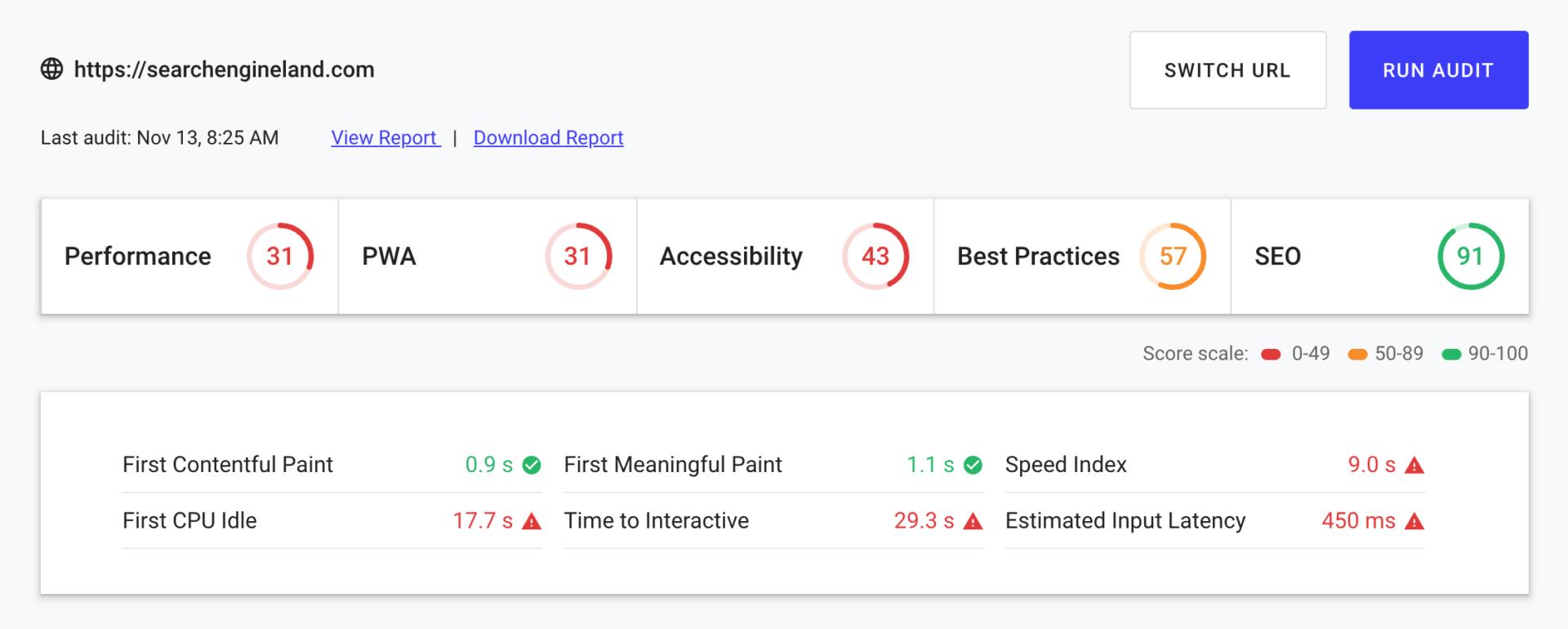 Screenshot Ladezeiten Test