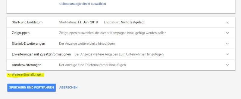 """Durch einen Klick auf die Verlinkung """"Weitere Einstellungen"""" ist die Option """"Dynamische Suchnetzwerk-Anzeigen"""" sichtbar."""