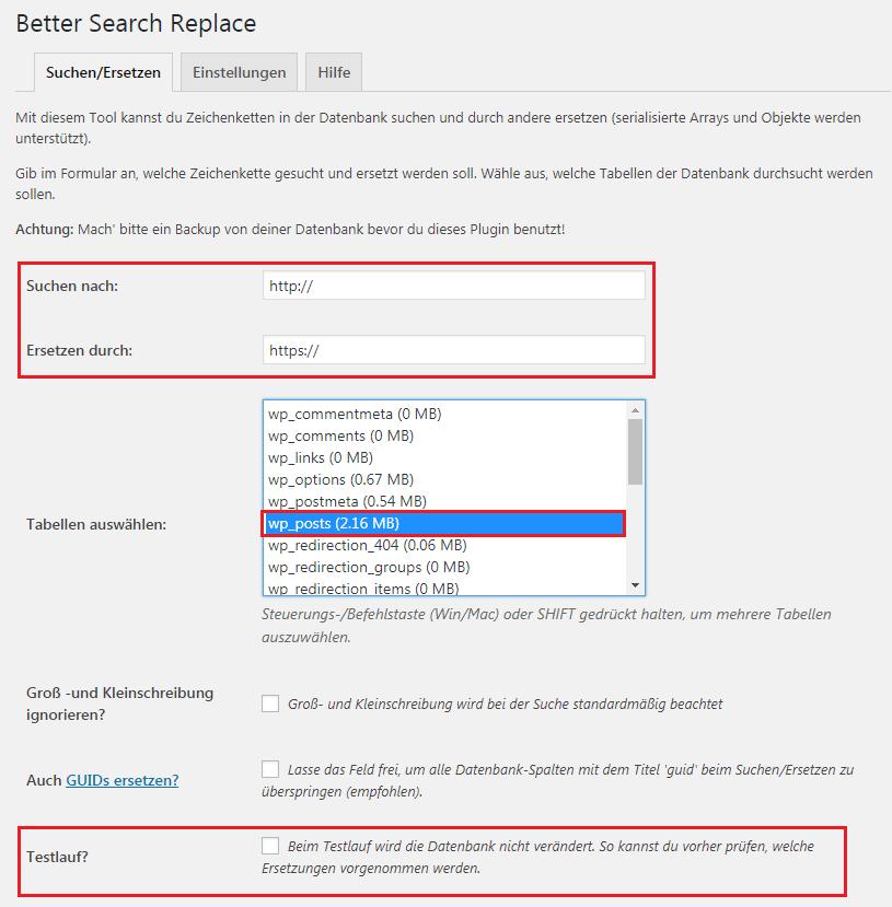 WordPress HTTPS-Umstellung Better Search Replace