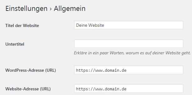 WordPress HTTPS-Umstellung Einstellungen