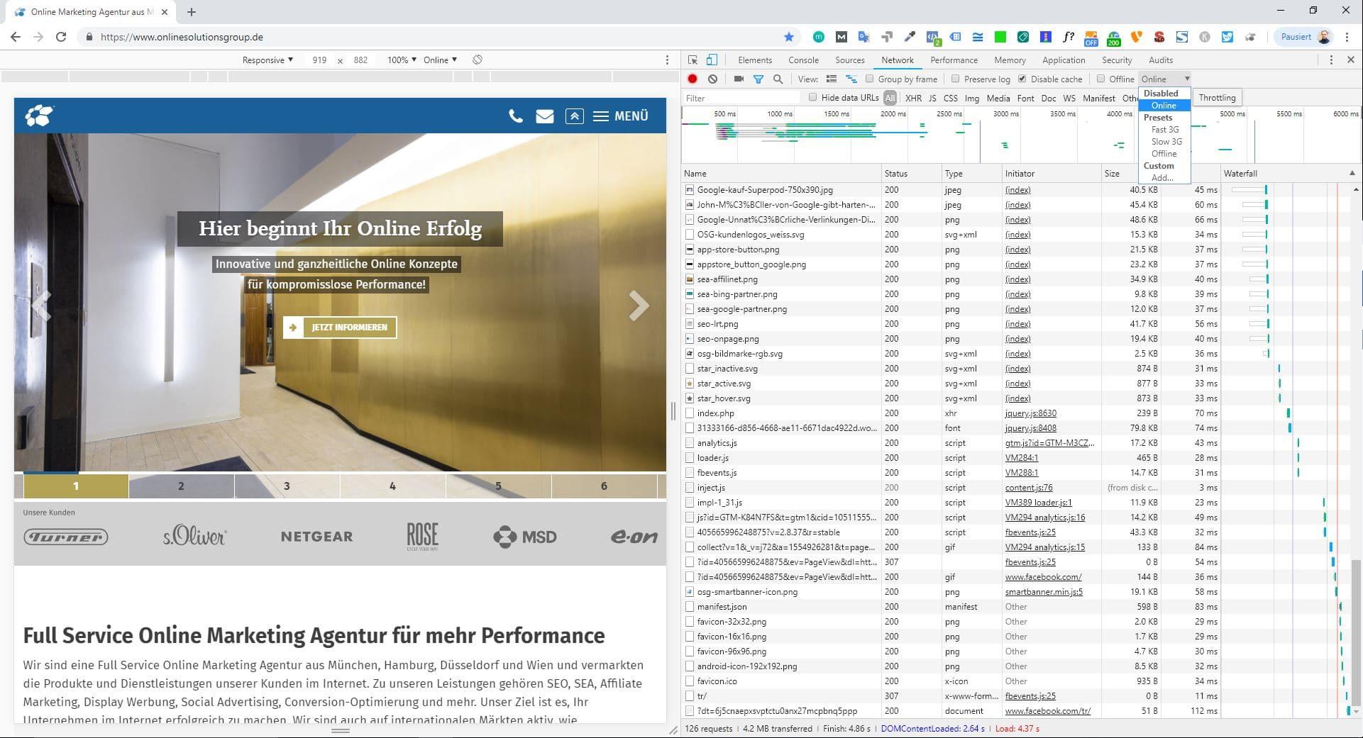 Die Developer Tools in Google Chrome zeigen wichtige Punkte für die WordPress Ladezeitenoptimierung.