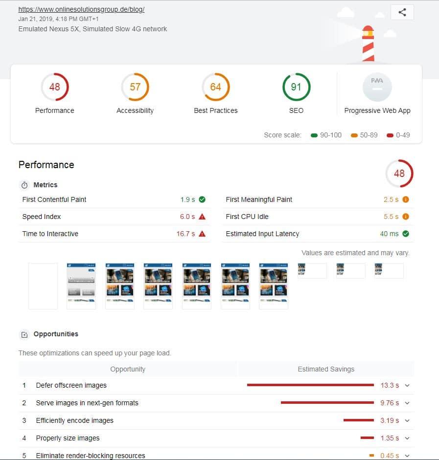 Google Lighthouse ist als PlugIn für den Browser oder direkt in den Chrome Developer Tools verfügbar. Es ist ebenfalls ein gute Tool für die WordPress Ladezeitenoptimierung