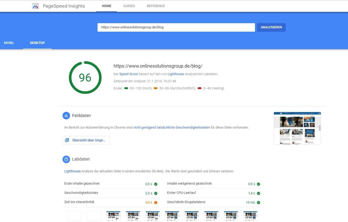 Google PageSpeed Insights ist ein Browsertool mit dem schnell Potenziale für die WordPress Ladezeitenoptimierung erkannt werden können.