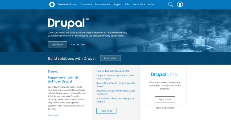 Screenshot von Drupal